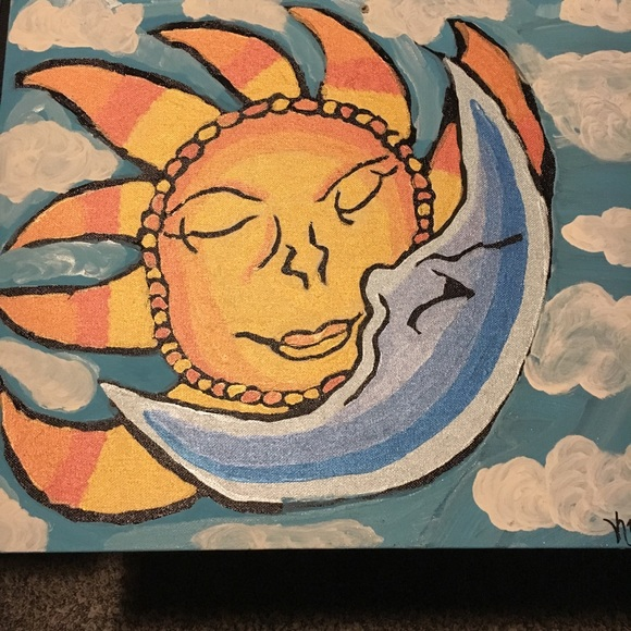 Accessories Hand Painted Sun Moon Canvas Poshmark